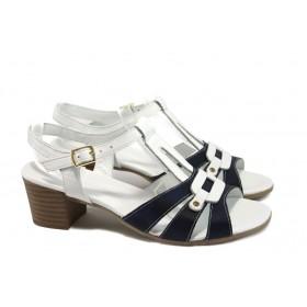 Дамски сандали - естествена кожа - бели - EO-8953