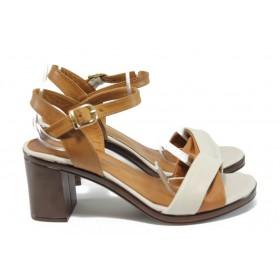 Дамски сандали - естествена кожа - бежови - EO-8954