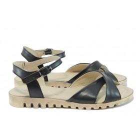 Дамски сандали - естествена кожа - черни - EO-8956