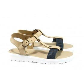 Дамски сандали - естествена кожа - сини - EO-8982