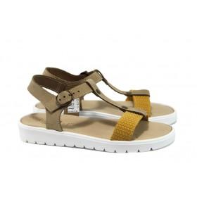 Дамски сандали - естествена кожа - жълти - EO-8981