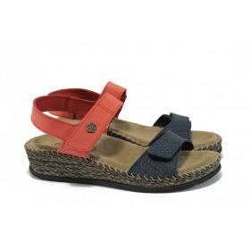 Дамски сандали - естествена кожа - сини - EO-8980