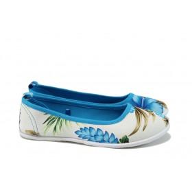 Равни дамски обувки - висококачествен текстилен материал - сини - EO-8979