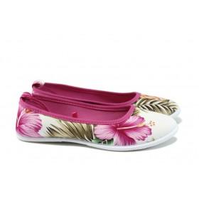 Равни дамски обувки - висококачествен текстилен материал - розови - EO-8978