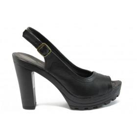 Дамски сандали - естествена кожа - черни - EO-9028