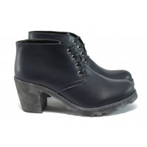 Дамски обувки на висок ток - естествена кожа - тъмносин - EO-9160