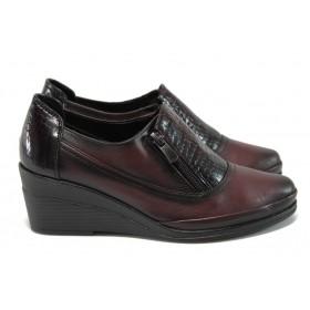 Дамски обувки на платформа - естествена кожа - бордо - EO-9161