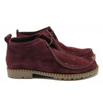 Равни дамски обувки - естествен велур - бордо - EO-9162