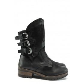 Дамски боти - естествена кожа - черни - EO-9166