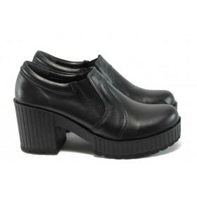 Дамски обувки на висок ток - естествена кожа - черни - EO-9185