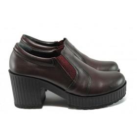 Дамски обувки на висок ток - естествена кожа - бордо - EO-9186