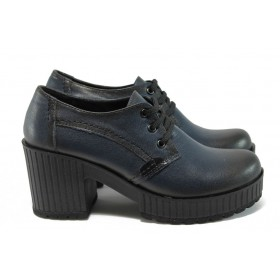 Дамски обувки на висок ток - естествена кожа - сини - EO-9187