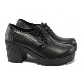 Дамски обувки на висок ток - естествена кожа - черни - EO-9188