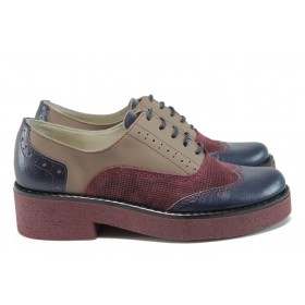 Равни дамски обувки - естествена кожа - бордо - EO-9191