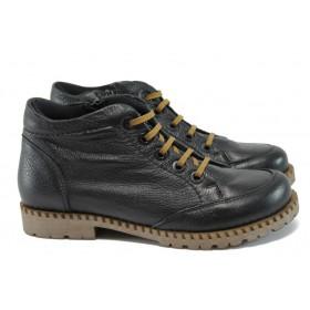Дамски боти - естествена кожа - черни - EO-9197