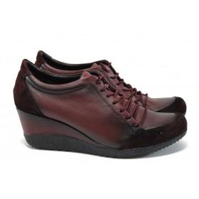 Дамски обувки на платформа - естествена кожа - бордо - EO-9264