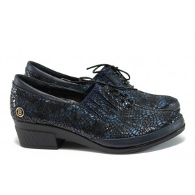 Дамски обувки на среден ток - естествена кожа-лак - сини - EO-9266
