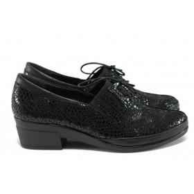 Дамски обувки на среден ток - естествена кожа-лак - черни - EO-9267