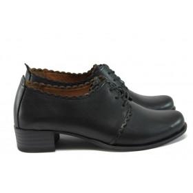 Дамски обувки на среден ток - естествена кожа - черни - EO-9268