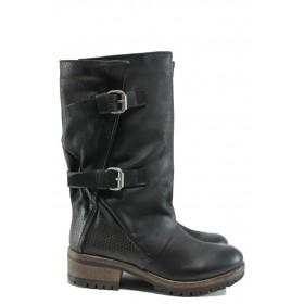 Дамски ботуши - естествена кожа - черни - EO-9285