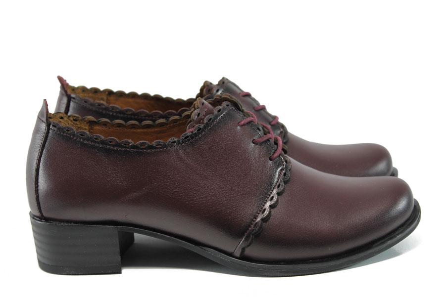 Дамски обувки на среден ток - естествена кожа - бордо - EO-9302