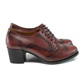 Дамски обувки на среден ток - естествена кожа - бордо - EO-9303