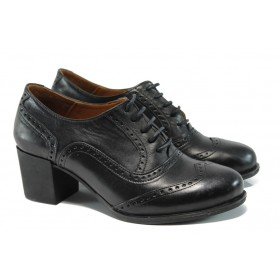 Дамски обувки на среден ток - естествена кожа - черни - EO-9304