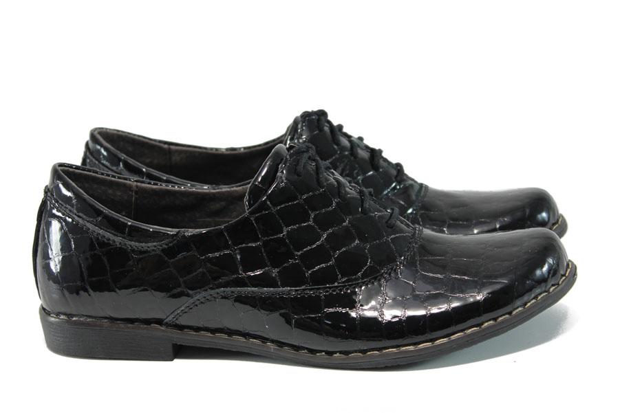 Равни дамски обувки - естествена кожа-лак - черни - EO-9309