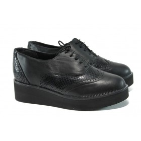 Равни дамски обувки - естествена кожа - черни - EO-9310