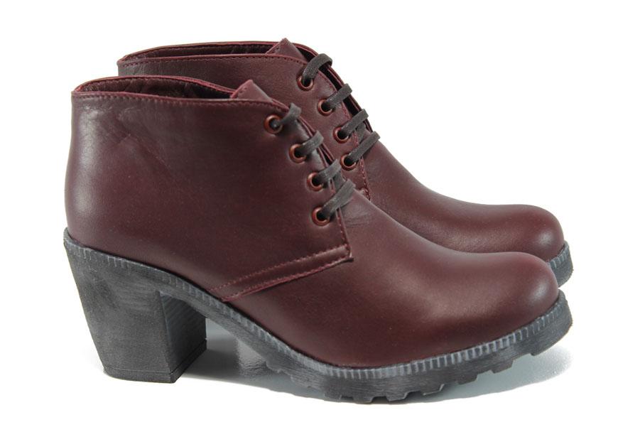 Дамски обувки на висок ток - естествена кожа - бордо - EO-9325