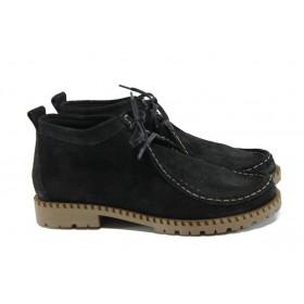 Равни дамски обувки - естествен велур - черни - EO-9326