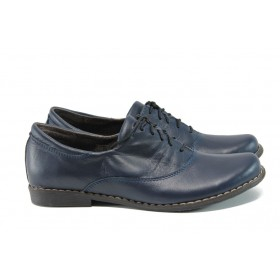 Равни дамски обувки - естествена кожа - сини - EO-9323