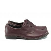 Равни дамски обувки - естествена кожа - бордо - EO-9324