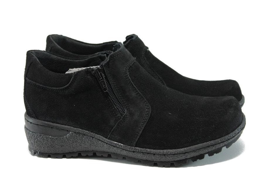 Равни дамски обувки - естествен велур - черни - EO-9361