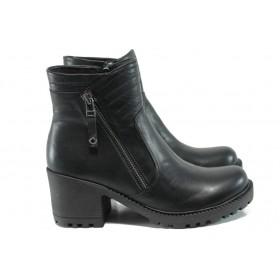 Дамски боти - естествена кожа - черни - EO-9363