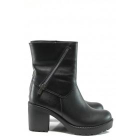 Дамски боти - естествена кожа - черни - EO-9364