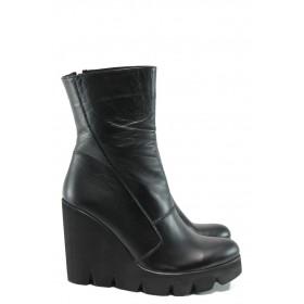 Дамски боти - естествена кожа - черни - EO-9365