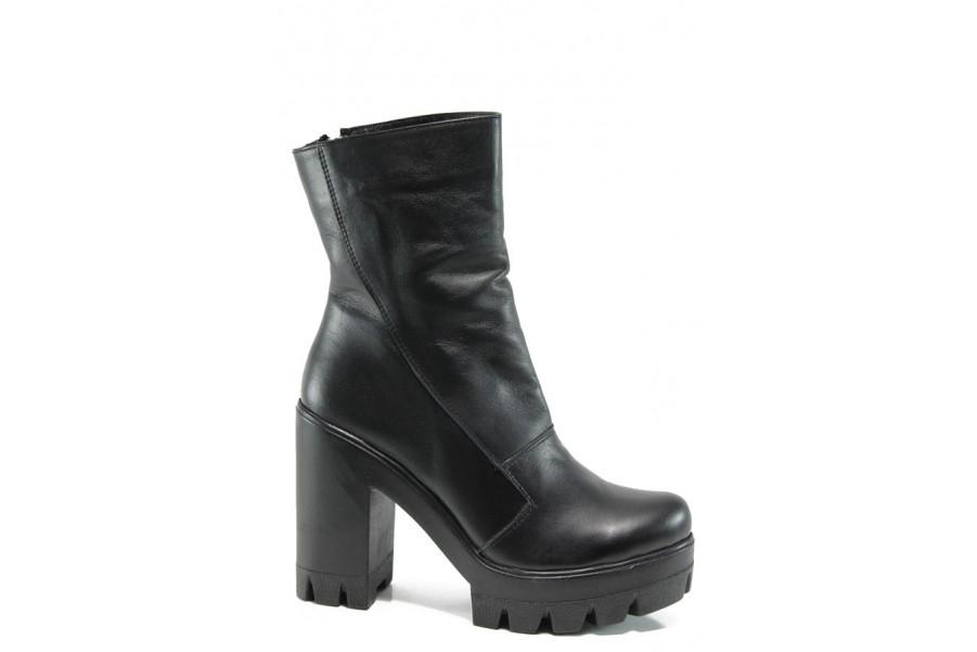 Дамски боти - естествена кожа - черни - EO-9366