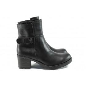 Дамски боти - естествена кожа - черни - EO-9451
