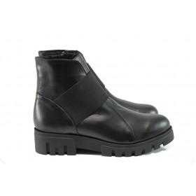 Дамски боти - естествена кожа - черни - EO-9452