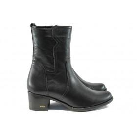 Дамски боти - естествена кожа - черни - EO-9453