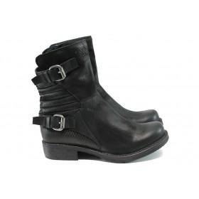 Дамски боти - естествена кожа - черни - EO-9486