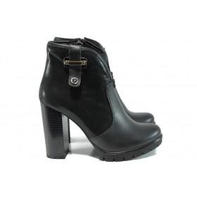 Дамски боти - естествена кожа - черни - EO-9515
