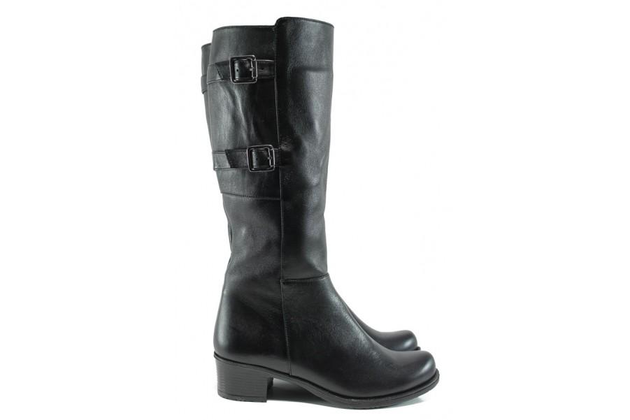 Дамски ботуши - естествена кожа - черни - EO-9518