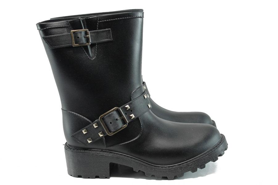 Дамски ботуши - висококачествен pvc материал - черни - EO-9525