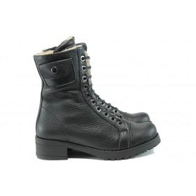 Дамски боти - естествена кожа - черни - EO-9531