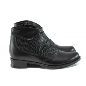 Дамски боти - естествена кожа - черни - EO-9579