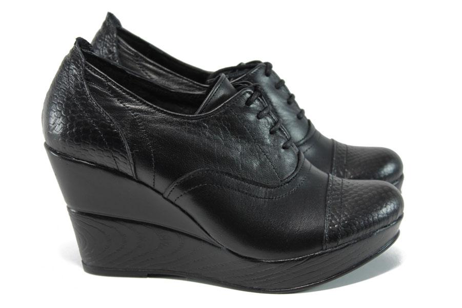 Дамски обувки на платформа - естествена кожа - черни - EO-9584