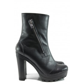 Дамски боти - естествена кожа - черни - EO-9585