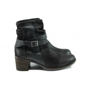 Дамски боти - естествена кожа - черни - EO-9592